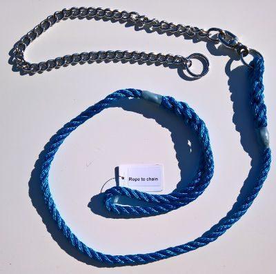 Lead & chain three strand rope lead (10mm x 1.5m)