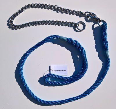 Lead & chain three strand rope lead (8mm x 1.5m)