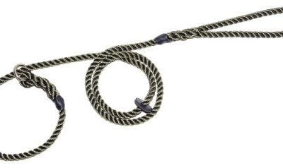 Slip lead three strand rope with rubber stop (8mm x 1.5m)