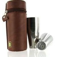 Stainless Steel Flask & Cups In Leather Case