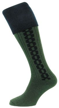Country Contrast Cable Stocking (Green Navy) (H017)