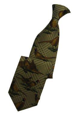 Pheasants on Brown Tweed Tie