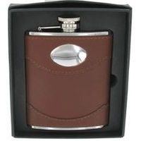 Brown Leather Hip Flask Name Plate 6 Oz